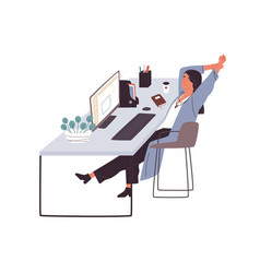 smiling woman sitting at desk having rest and vector image