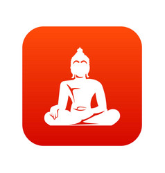 Statue of buddha sitting in lotus pose icon vector