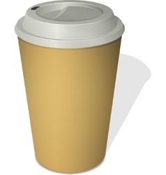 Take-out coffee cup with a cap isolated on white vector image