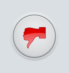 thumb down red button user interface round icon vector image
