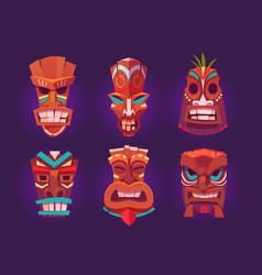 tiki masks wooden hawaiian tribal totem vector image