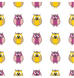 tile pattern with owls on white background vector image