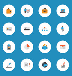 trade icons flat style set with identification vector image