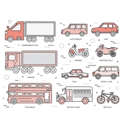 Transportation concept set icons in vector