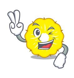 two finger character pineapple slice fresh vector image