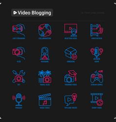 Video blogging thin line icons set vlog asmr vector