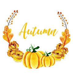Watercolor autumn wreath vector