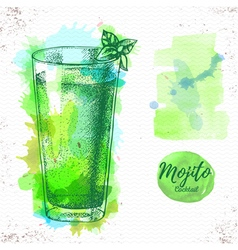 Watercolor cocktail mojito sketch vector