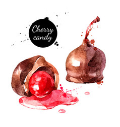 Watercolor hand drawn sketch cherry cordial candy vector