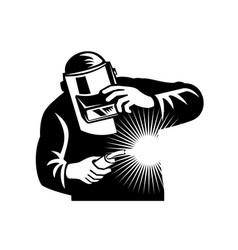 Welder welding torch front view retro black vector
