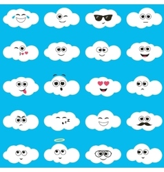 White clouds with smiley faces vector