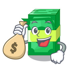 with money bag stack money shape cartoon on table vector image