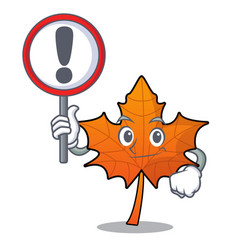 With sign red maple leaf character cartoon vector