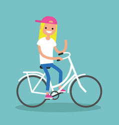 young blond girl riding a bike and waving her vector image