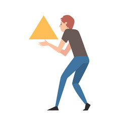 Young man organizing abstract triangular geometric vector