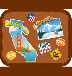 california and colorado travel stickers vector image vector image