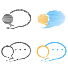 set of blank speech bubbles blue orange and black vector image vector image