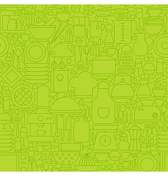 Thin Green Kitchen Appliances and Cooking Line vector image
