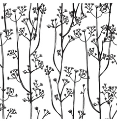 White and black background with abstract plants vector image vector image