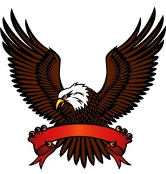 bald eagle and red emblem vector image