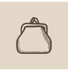 Purse sketch icon vector