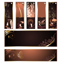 set of coffee tea banners vector image vector image