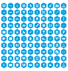 100 mens team icons set blue vector image