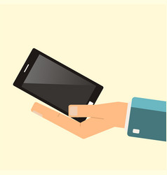 buying smartphone the hand hold smartphone vector image