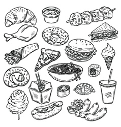 Collection of food vector image vector image