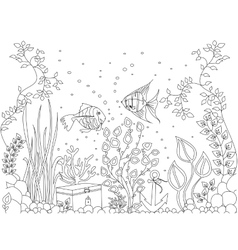 Coloring seabed fish vector image