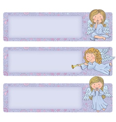 Horizontal banner with cute angels vector image