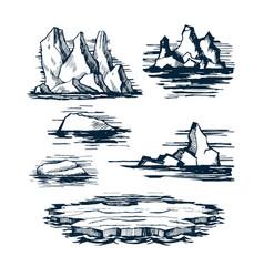 iceberg ice blocks vector image