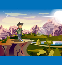man tourist looking at the mountains vector image