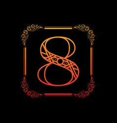 number 8 with ornament vector image vector image