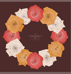 round frame with beautiful roses vector image