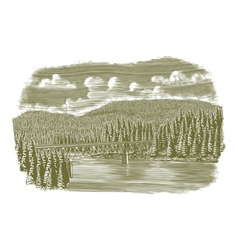 Woodcut Bridge Over River vector image