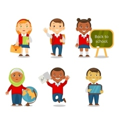 Different ethnic kids back to school vector image vector image