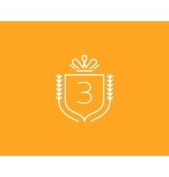 Elegant number 3 logotype Premium numeral crest vector image vector image