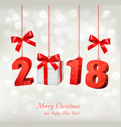 new year background with a 2018 and a gift box vector image vector image