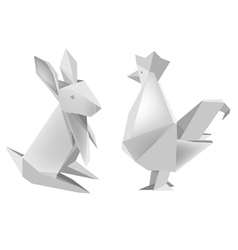 Paper rabbit and rooster vector image