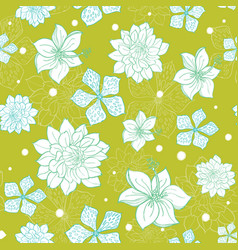 Tropical green blue flowers seamless repeat vector