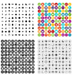 100 wellness icons set variant vector