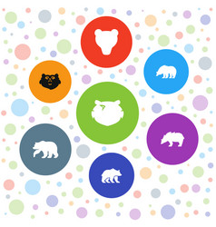 7 grizzly icons vector