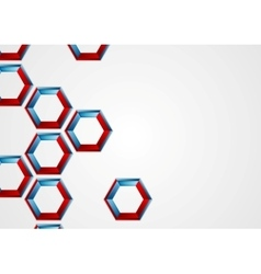 Abstract blue red hexagons corporate background vector