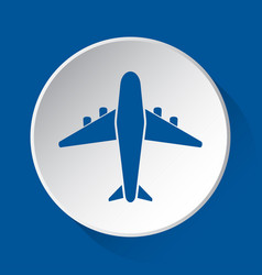 Airliner with engines - blue icon on white button vector