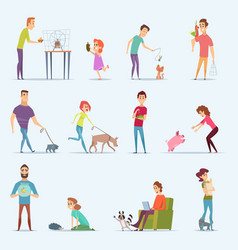 animal owners dog kitten aquarium fishes people vector image