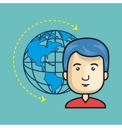 avatar man with earth planet icon vector image