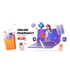Banner online pharmacy service vector