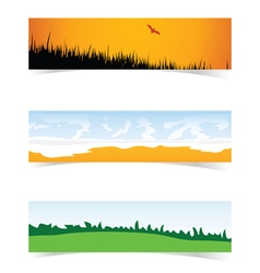 banner with landscape icon set in color vector image
