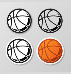 basketball symbol stickers set vector image